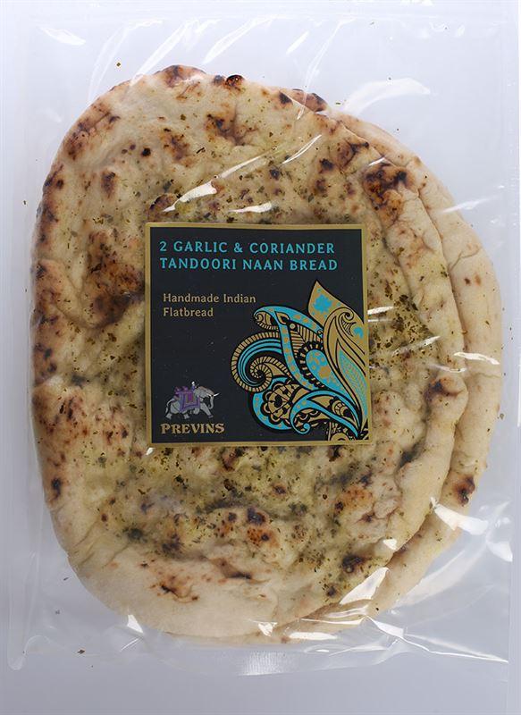 Previns 2 Garlic and Coriander Tandoori Naan Bread
