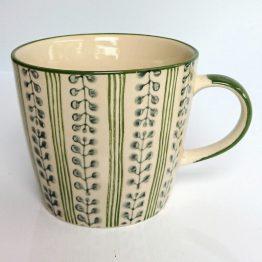 Gisela Graham Mug Green Stripe Berry