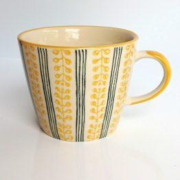 Gisela Graham Mug Mustard Berry Stripe