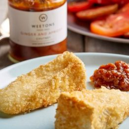 Breaded Brie with Apricot And Ginger Chutney