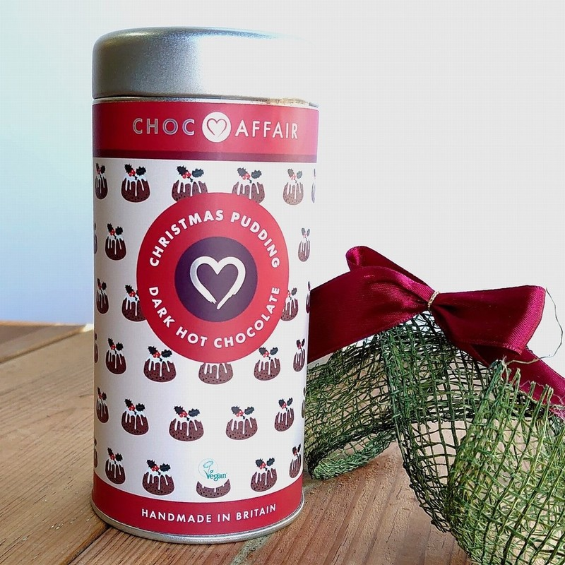 Choc Affair Christmas Pudding Dark Hot Chocolate Flakes