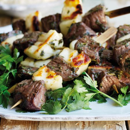 Lamb, Mint and Halloumi Kebabs